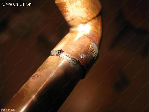 Паяное соединение с остатками флюса