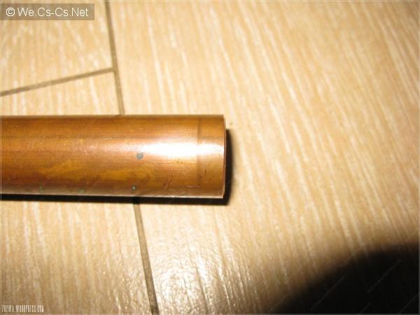 Завальцовка (грат) трубы после трубореза (вид снаружи)